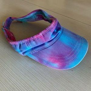 Kids size tye dye visor adjustable strap